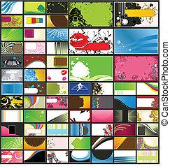 variedad, de, detallado, tarjetas comerciales