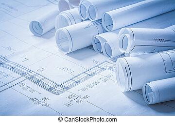 variedad, de, ingeniería, construcción, dibujos, edificio, concepto