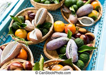 variedad, de, orgánico, vegetales, y, fruits