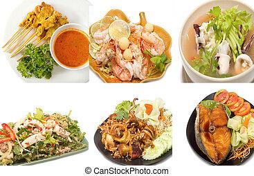 variedad, de, popular, alimento tailandés
