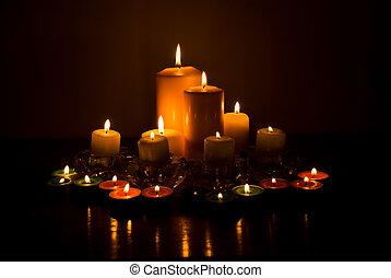 variedad, de, velas, luces