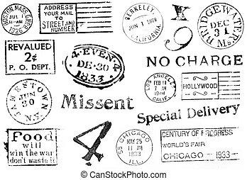 variedad, de, vendimia, postal, marcas