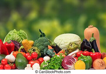 variedad de verduras, en, naturaleza, plano de fondo