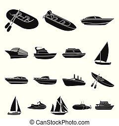variedad, illustration., símbolo, vector, colección, mar, barcos, transporte, design., negro, agua, iconos, tela, conjunto, barcos, acción