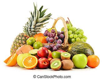 variedad, mimbre, aislado, fruits, cesta, blanco