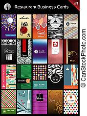 variedad, tarjetas comerciales, plantilla, para, restaurante