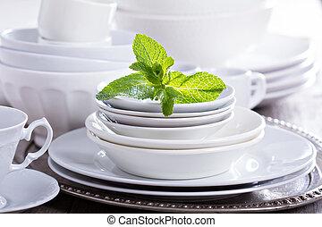 variedade, de, branca, dinnerware