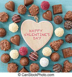 variedade, de, chocolates, e, trufas
