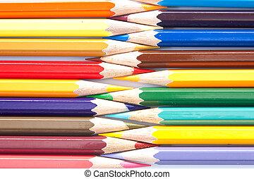 variedade, de, cores pastel, organizado, uma fileira