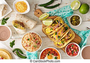 variedade, de, cozinha mexicana, pratos, ligado, um, tabela