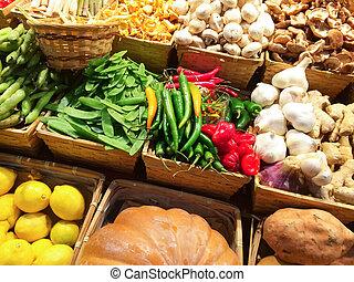variedade legumes, em, a, mercado