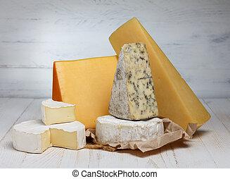 variedade queijo, ligado, tabela madeira