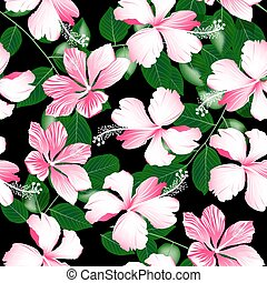 Variegated pink tropical hibiscus flowers seamless pattern .