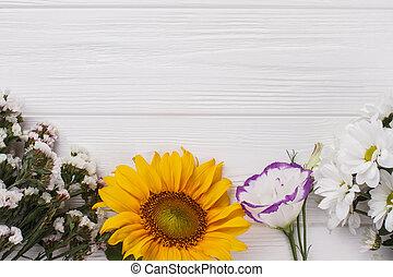 varietà, di, fiori, bianco, wood.