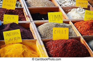 varietà, di, spezie, in, il, negozio
