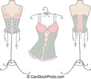 varietà, vendemmia, sexy, corsetti