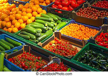 varieta k plodiny, a, zelenina, v, storefront, dále, market.