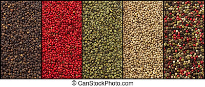 varieties of pepper: black, red, green, white and mixed