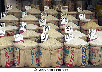 Varieties of Rice - Sacks of different types of rice on sale...
