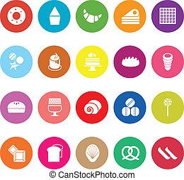 Variety bakery flat icons on white background