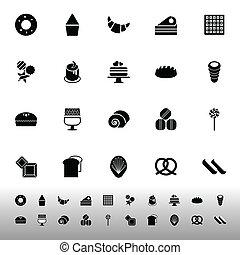 Variety bakery icons on white background