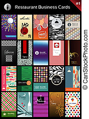 20 business cards for restaurant for differents styles. Vector available