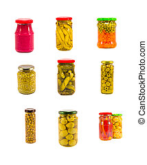 Variety canned vegetables glass pot collection isolated on white