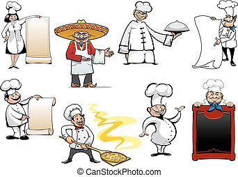 Variety cartoon chinese, mexican, german, spanish, french and italian chefs or bakers