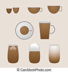 Variety coffee drinks with espresso