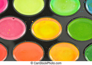 close-up of watercolor paint tray
