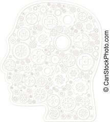 Variety different gear wheel icon vector in outline head on white background