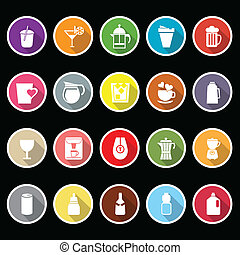 Variety drink icons with long shadow