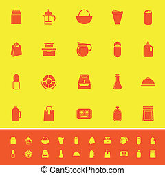 Variety food package color icons on yellow background