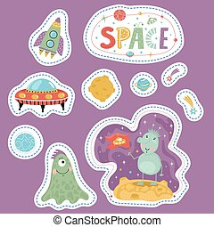 Variety Forms Price Tags with Space Cartoons