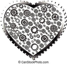 Variety gear wheel in gear heart on white background