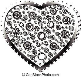Variety gear wheel in gear heart on white background