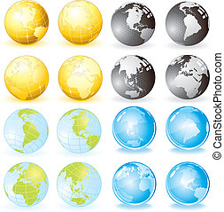 Globes icon set vector design elements