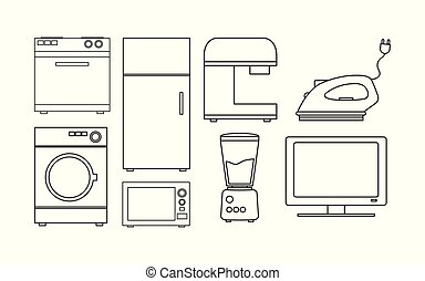 Variety home appliances icon set pack vector design