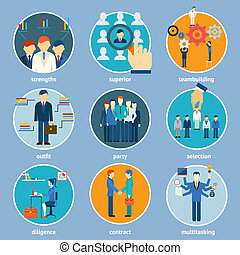 Variety Human Resource Icons Isolated on Light Blue...