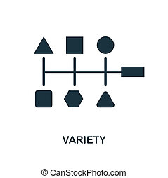 Variety icon. Monochrome style design from big data icon collection. UI. Pixel perfect simple pictogram variety icon. Web design, apps, software, print usage.
