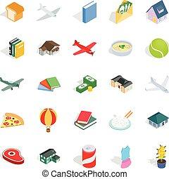 Variety icons set, isometric style