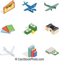 Variety money icons set, isometric style