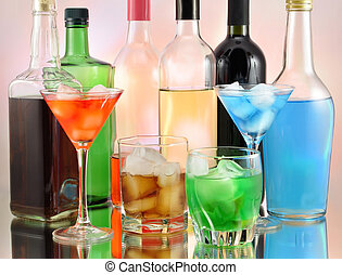 variety of alcoholic drinks