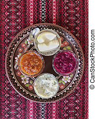variety of appetisers on table in Ukraine