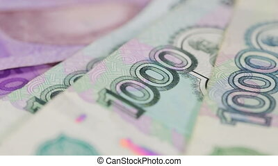 Variety of banknotes - Hryvnia, rubles, dollars and euros...