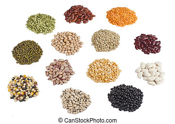 Variety of beans and pulses displayed on white background