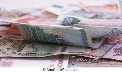 Variety of bills Russian rubles
