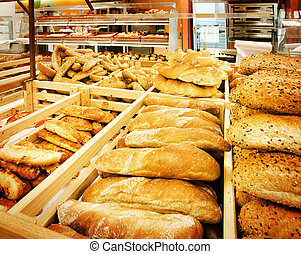 Variety of bread in a supermarket
