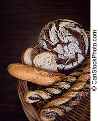 Variety of breads in a wicker basket