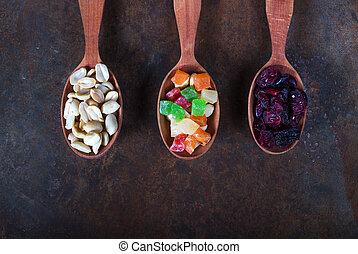 Variety of breakfast cereals and dried fruit